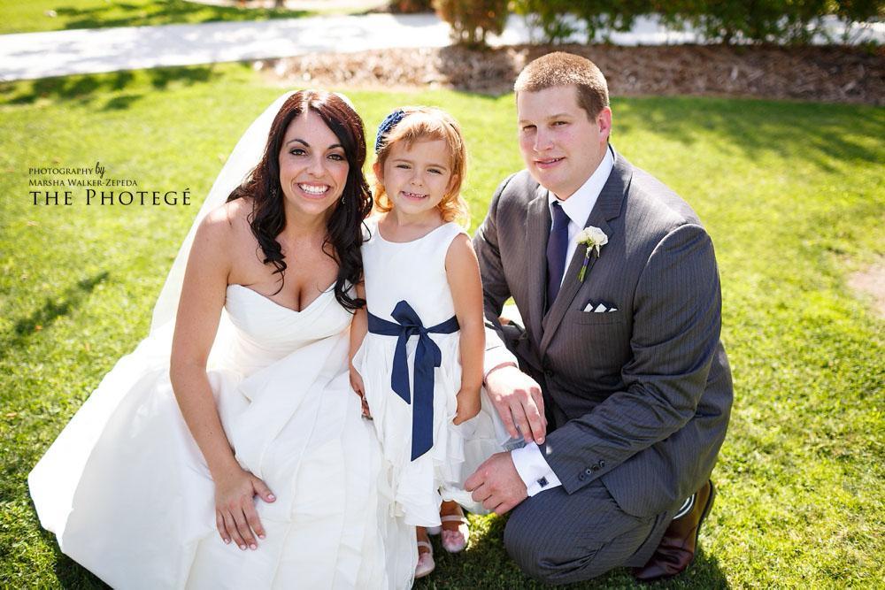 bride and groom, flower girl, glaser wedding, shafter park place