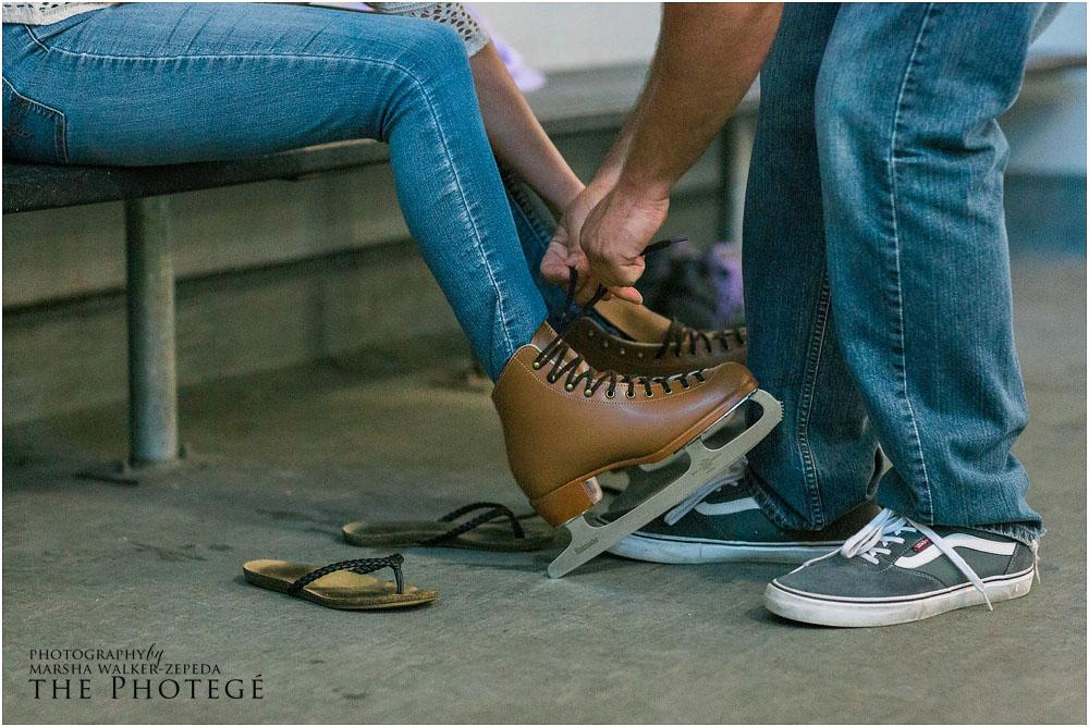 Ice rink, museum engagement session