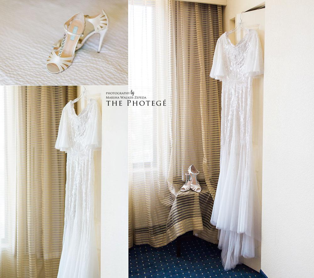 Bridal details, wedding dress