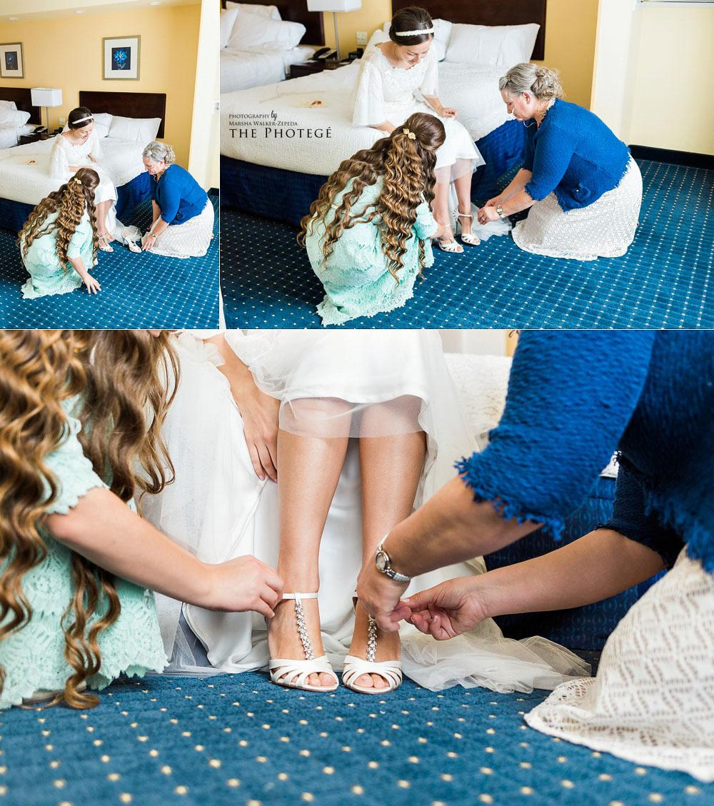 Putting on the bride's shoes