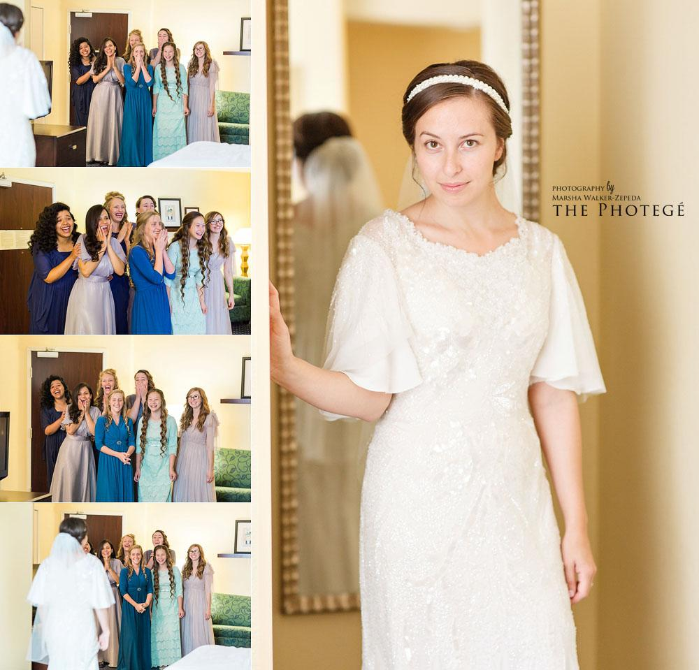 First look with bride and bridesmaids