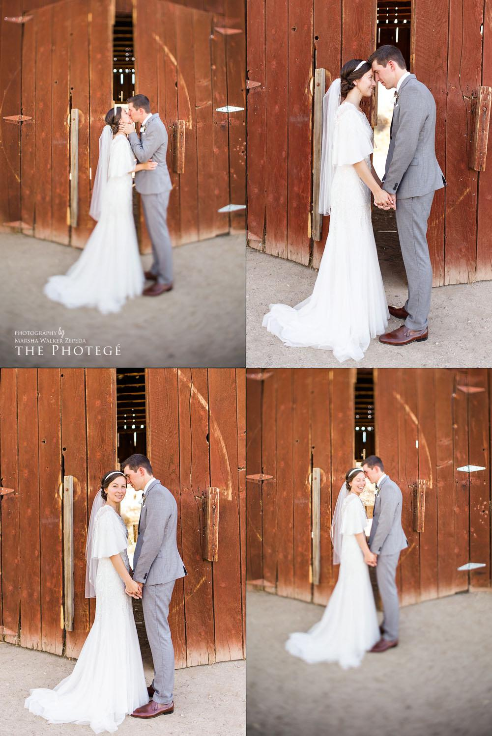 Rustic barn wedding portraits