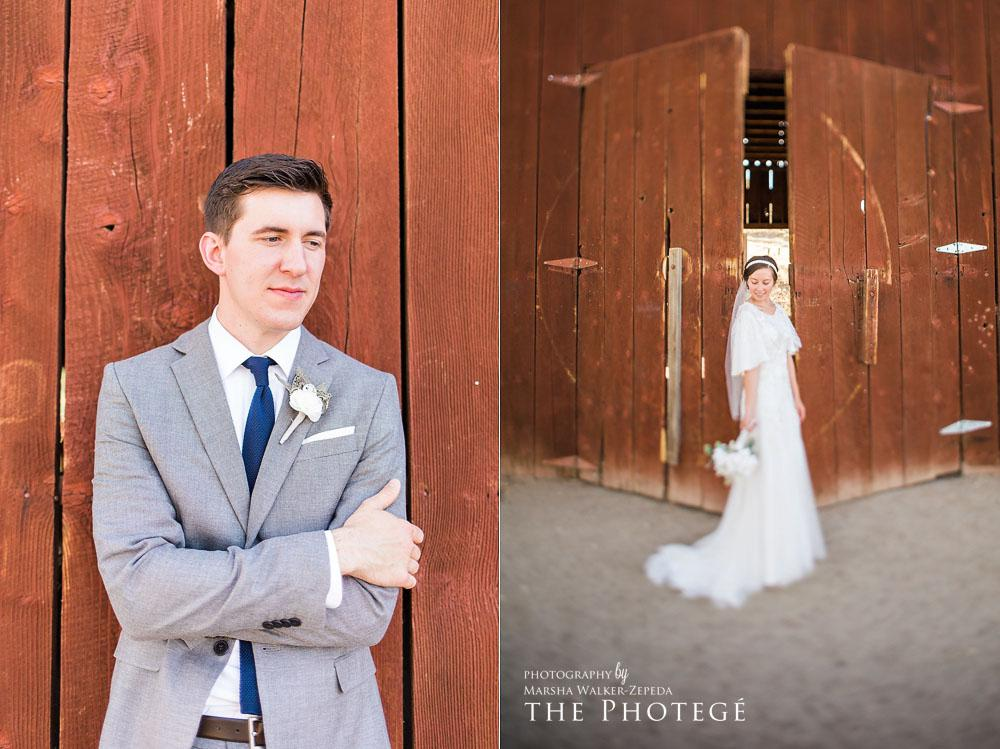 Mr. and Mrs. Wilson rustic wedding portraits