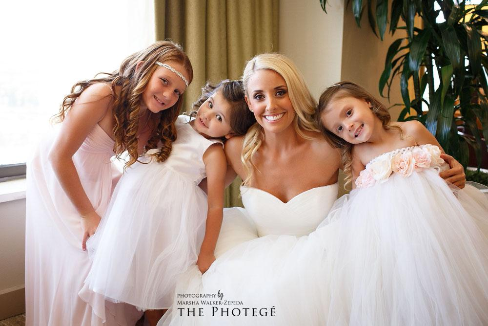 bride and flower girls, costa mesa wedding