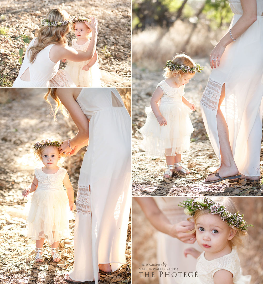 mommy and me photo session with beautiful flower crowns and nature scene in bakersfield, california