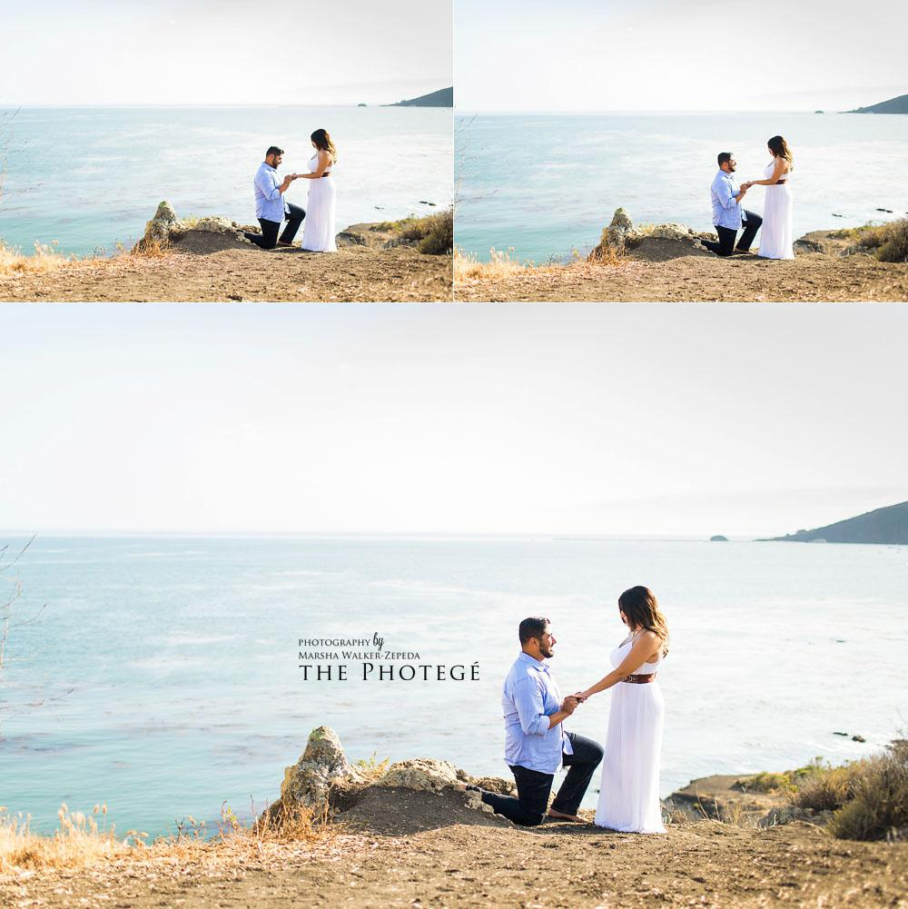 beach engagement photography, surprise proposal