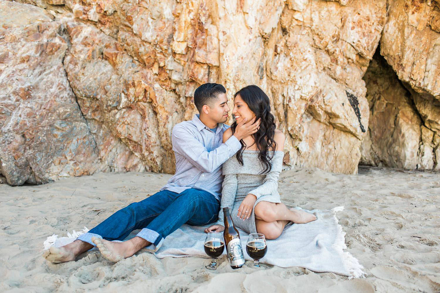 romantic engagement session on the beach