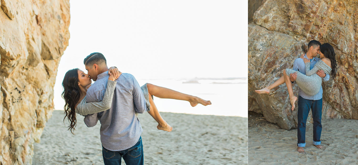 man carrying his fiancee on the beach