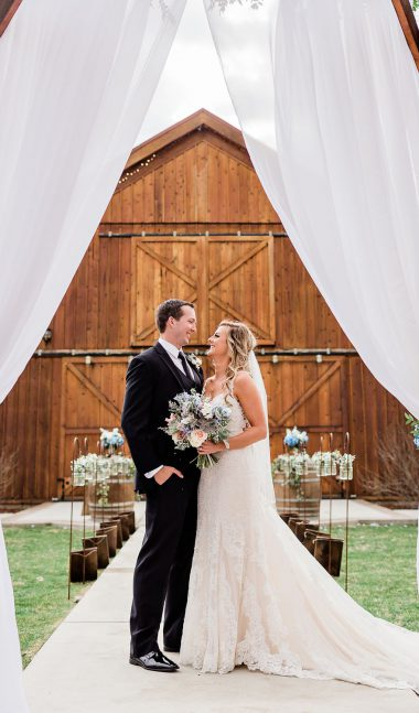 bride and groom at grace barn in fowler ca