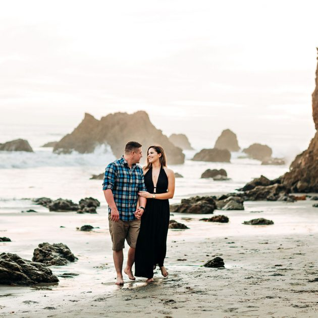 engagement session on el matador beach