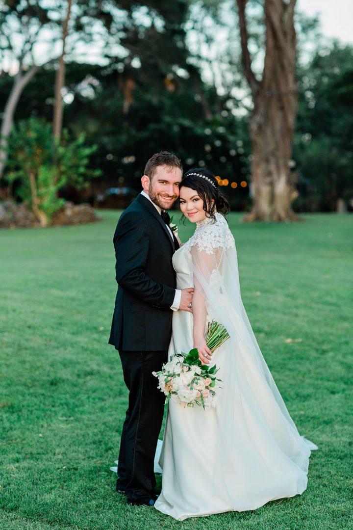 bride and groom at ponomakena sanctuary maui wedding