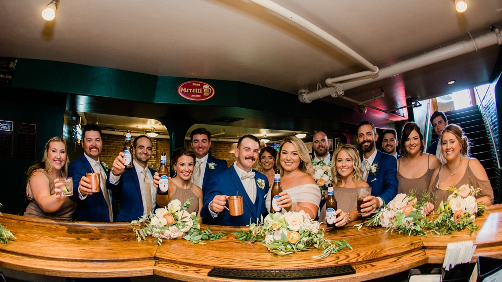 wedding party, bridal party, sandrinis bar, cheers
