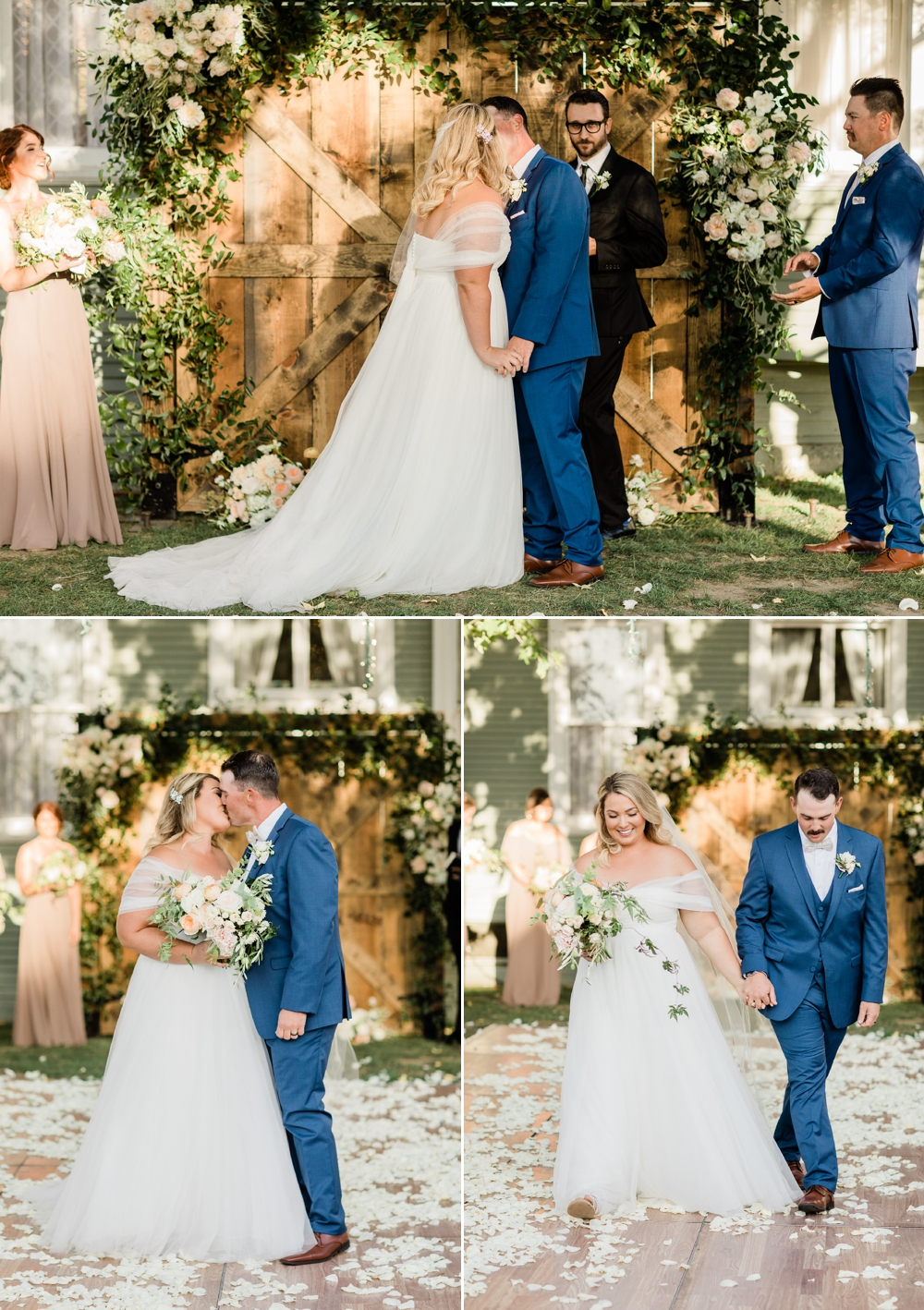 first kiss, just married, the belle rae wedding