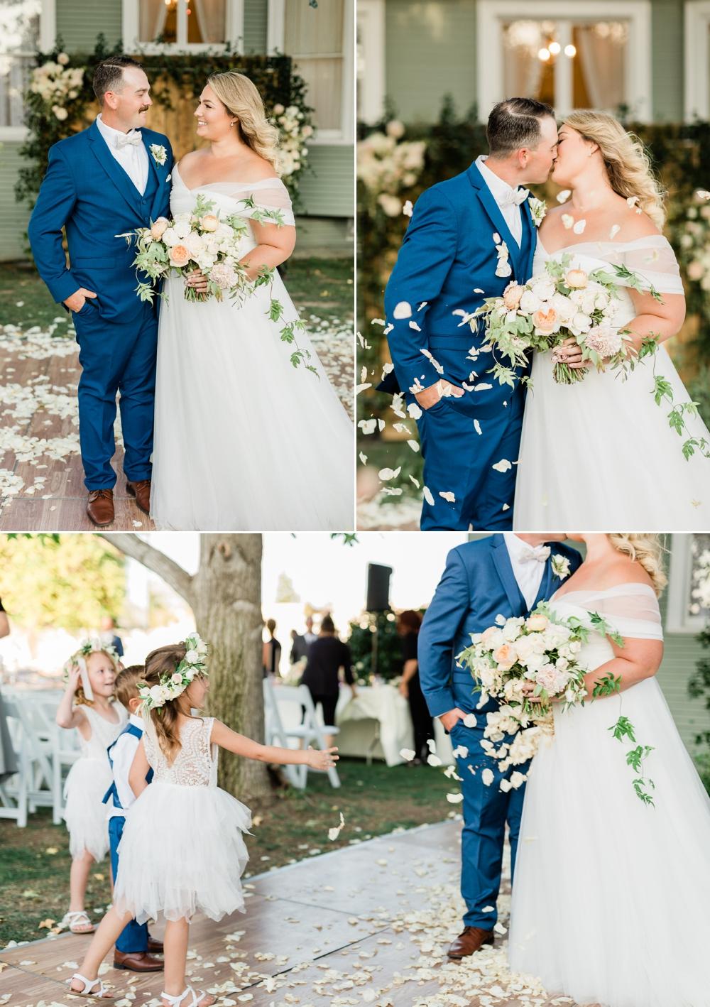 romantic wedding portraits, golden hour portraits, bride and groom portraits, just married