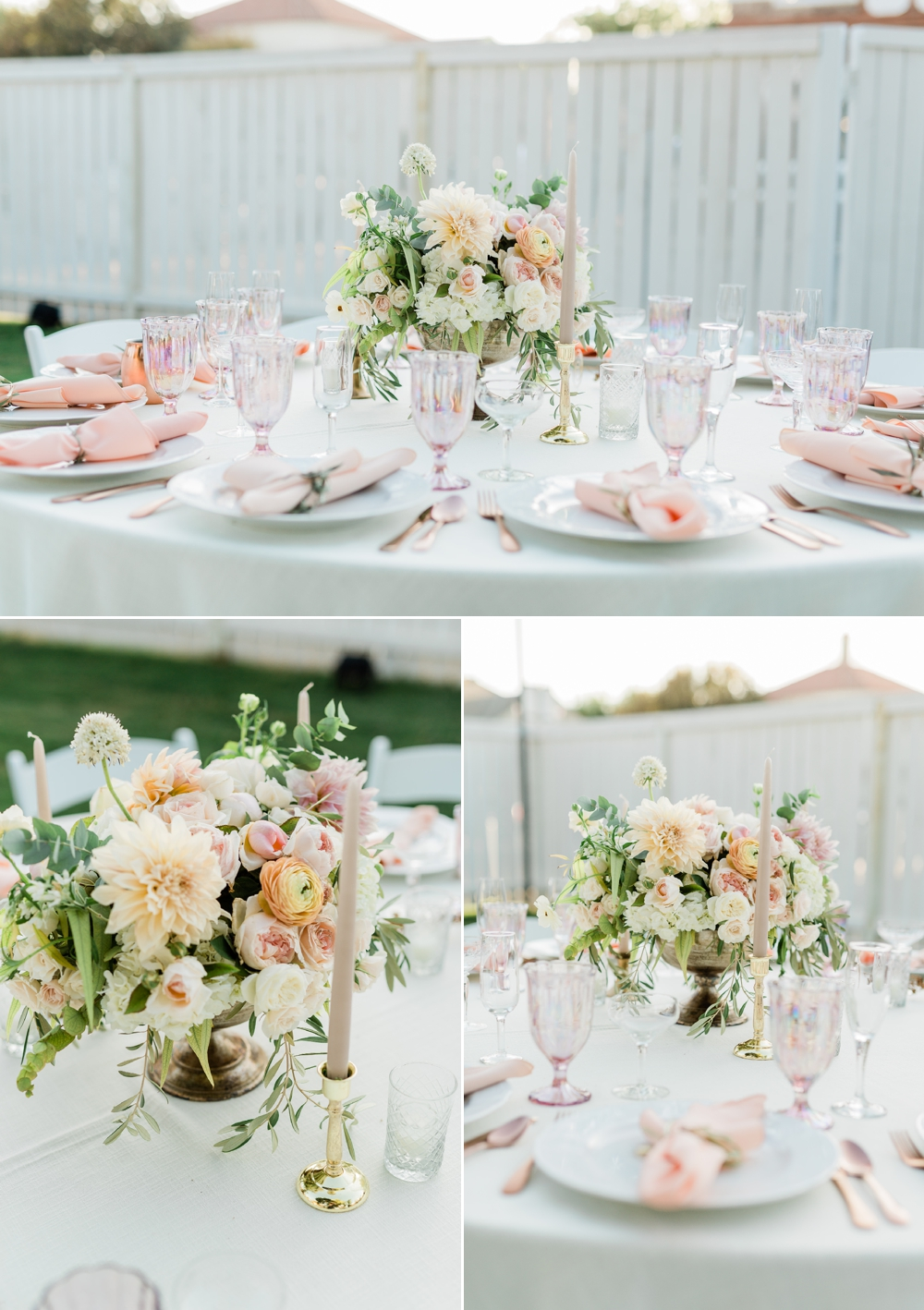 wedding table decor, neutral wedding flowers, the belle rae