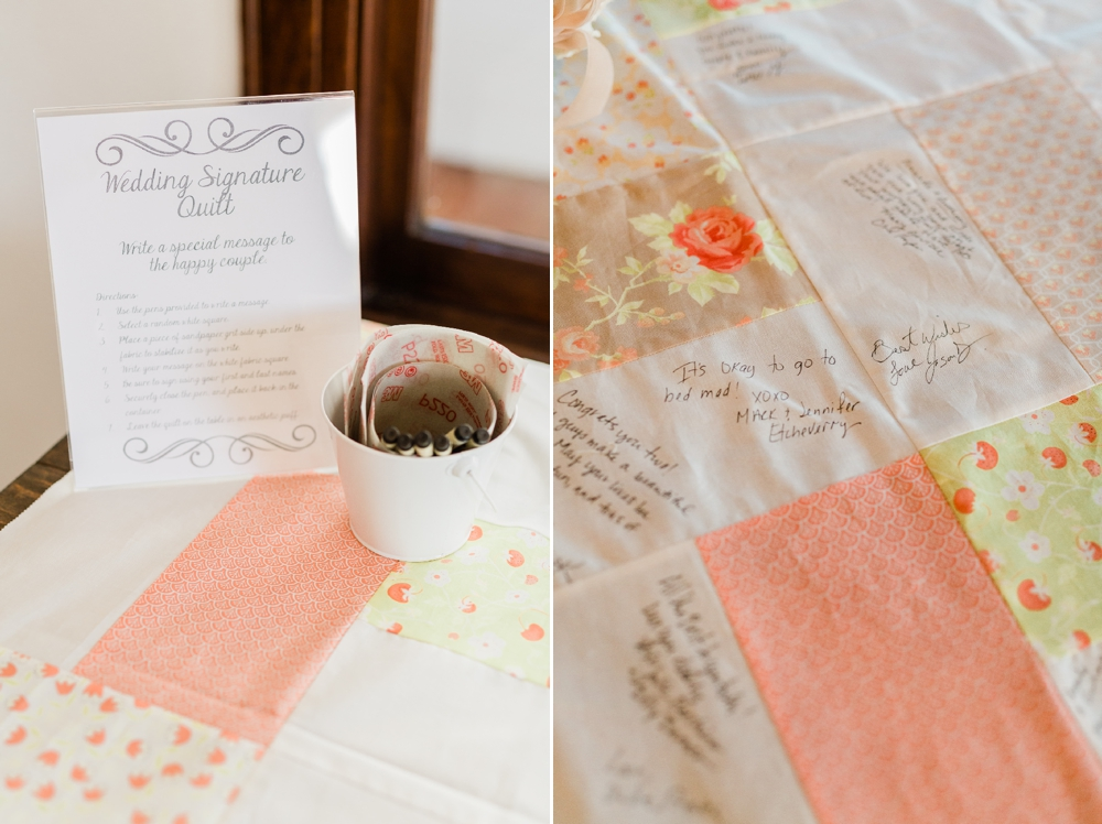 wedding signature quilt, wedding details