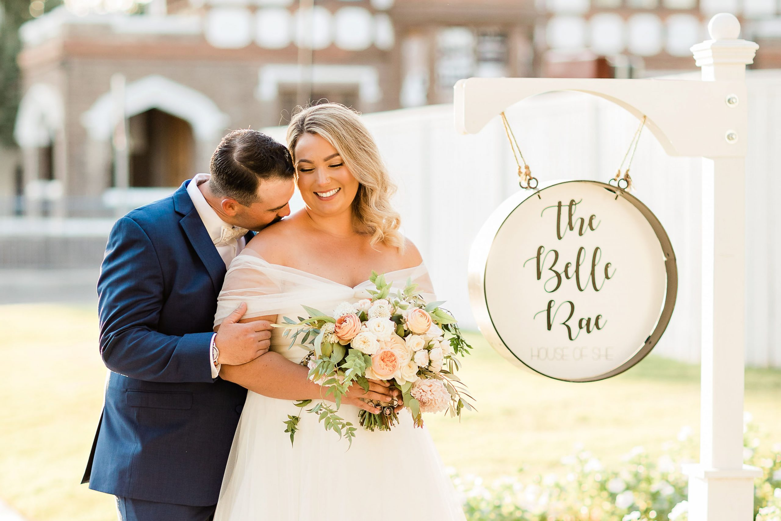 the belle rae wedding, golden hour portraits, bride and groom, just married