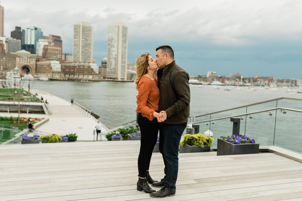 Boston Seaport harbor, Boston cityscape engagement session