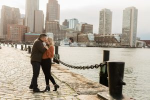 couple kissing in seaport boston