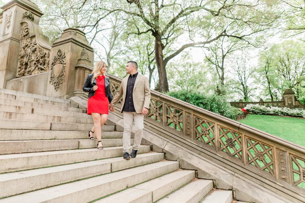 leather jacket city chic central park engagement session