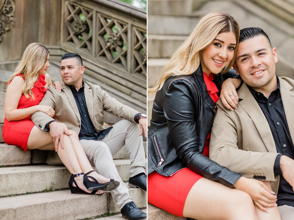 central park bethesda stairs engagement session