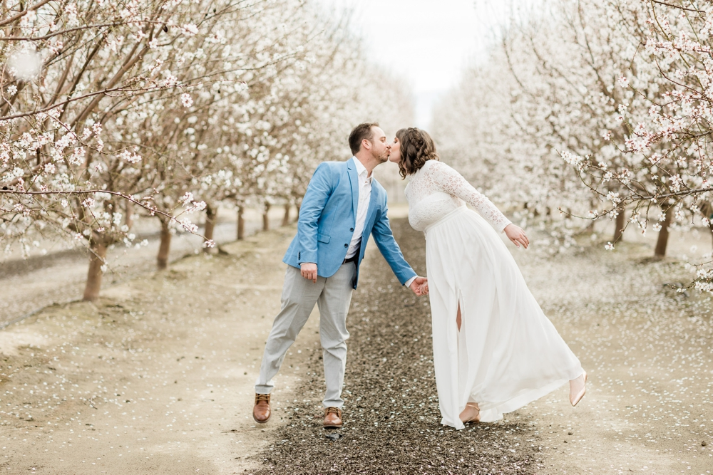 central valley almond orchard engagement session