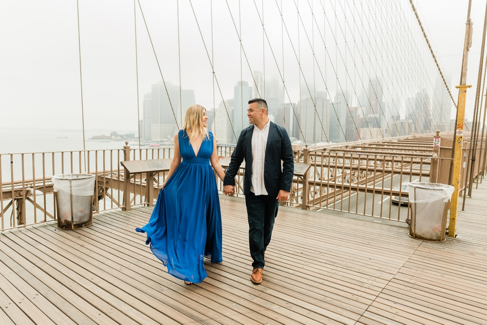 sunrise Brooklyn bridge engagement session