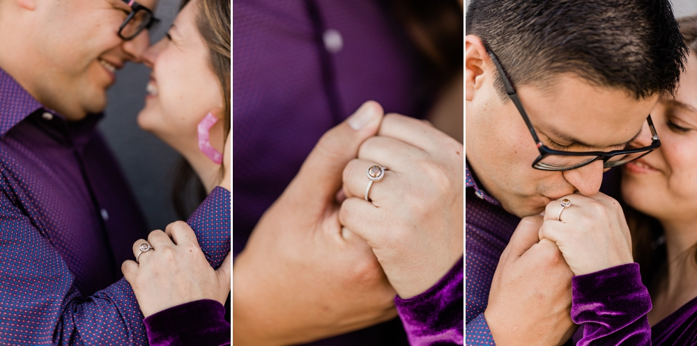 downtown bakersfield engagement session, chocolate diamond ring