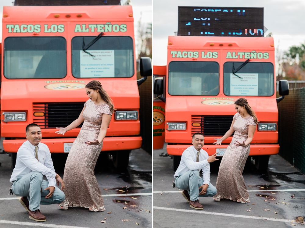 just married couple in front of a taco truck