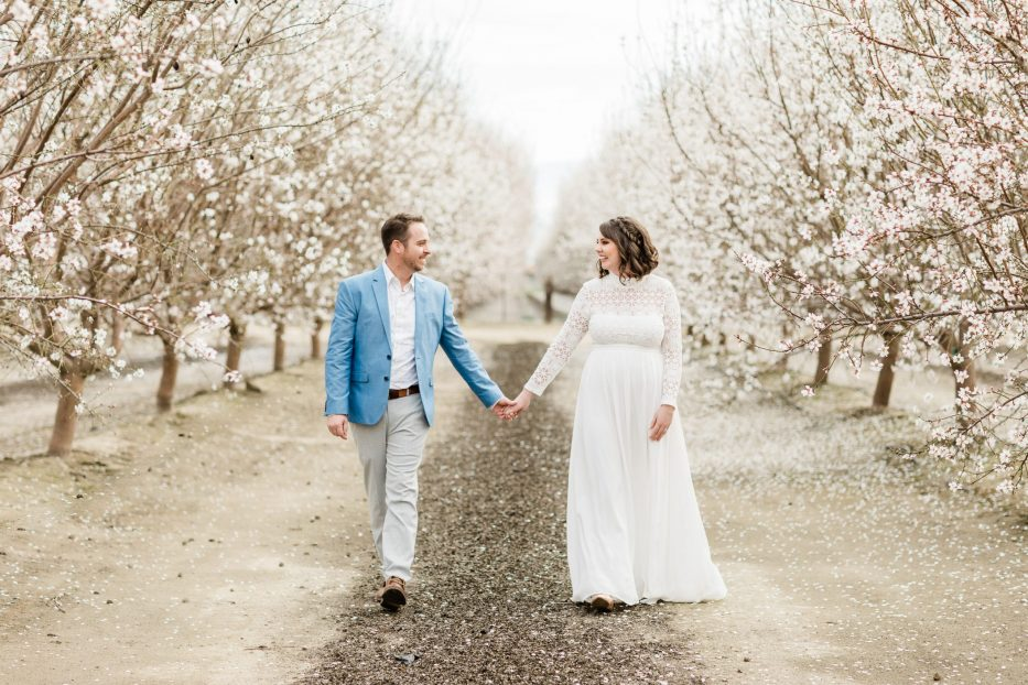 central valley almond orchard, bakersfield california, engagement session