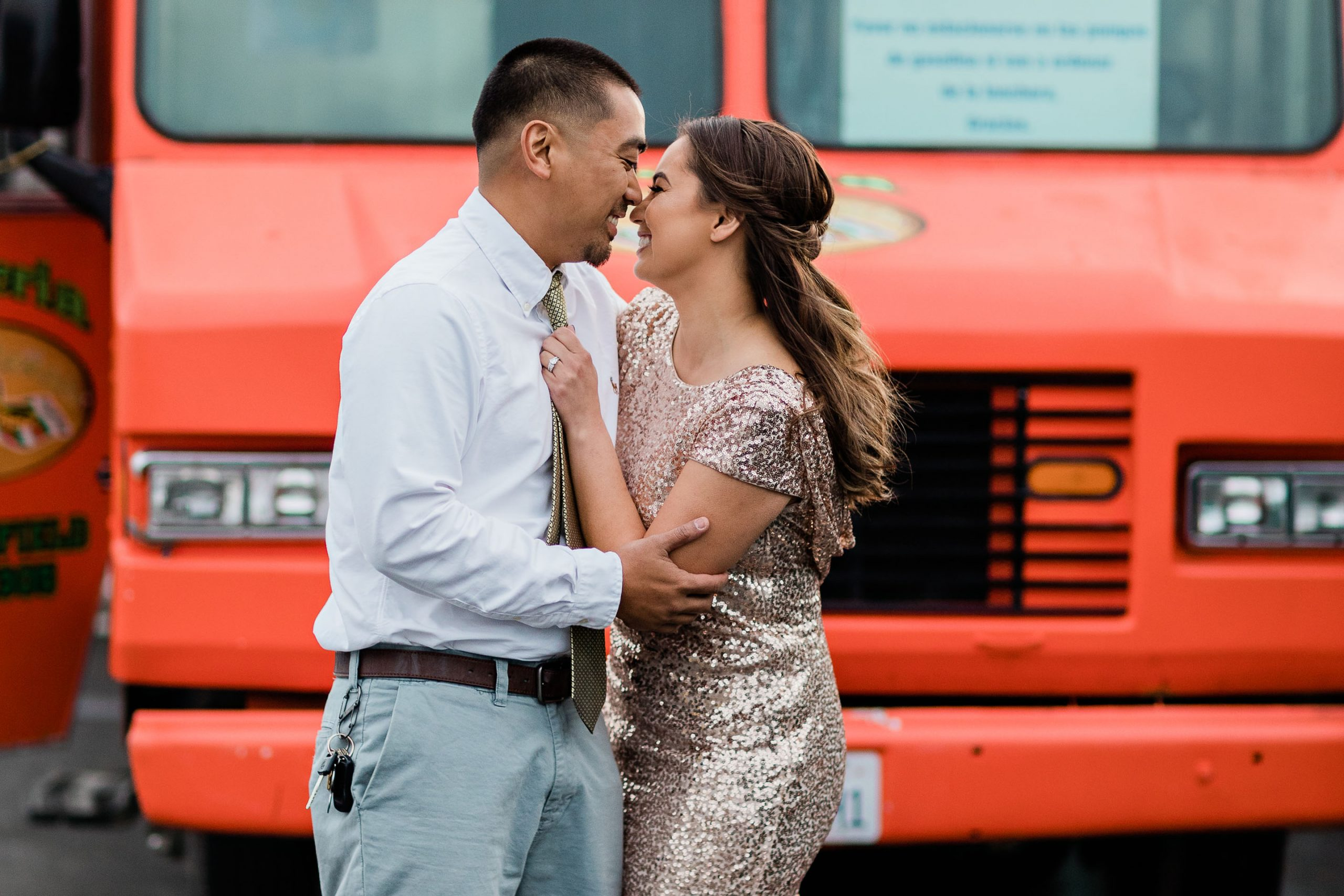 eloped couple in front of a taco truck