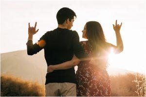 asl i love you, asl engagement session, golden hour sunset, sunset engagement session